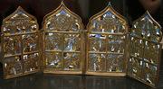 Православный бронзовый литой 4-х створчатый складень Большие Праздничн